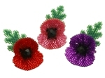 Small 3D Beaded Poppy Brooch