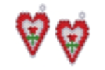 Red Rose Heart Earring