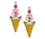 Snowman Ice Cream Cone Earring