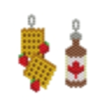 Maple Syrup and Strawberry Waffles Earring