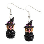 Mini 3D Beaded Halloween Witch Earrings Pattern