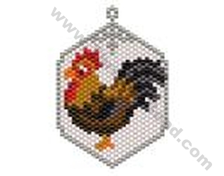 Rooster Pendant Or Token Charm Bead Pattern By Threadabead