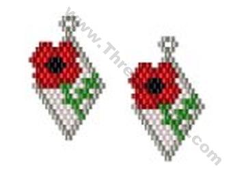 Poppy Earring Bead Pattern By Threadabead