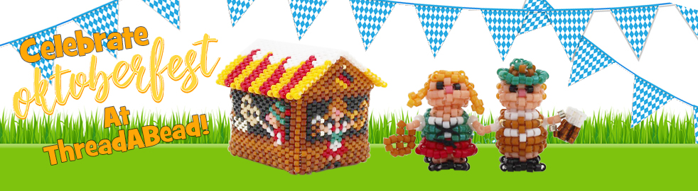 3D Oktoberfest Beer and Pretzel Stall Christmas Village Ornament Bead Pattern