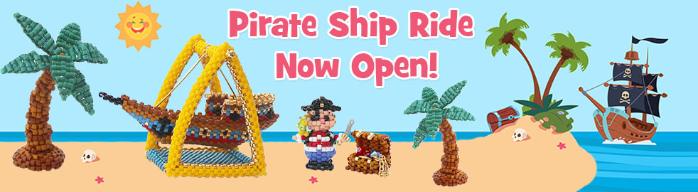 3D Mini Pirate Figure with Treasure Chest Bead Pattern