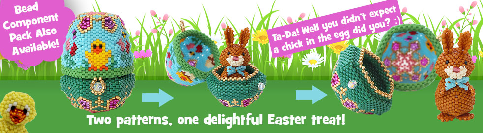 3D Easter Egg Trinket Box Ornament and Bernard R Bunny 3D Rabbit Ornament bead patterns