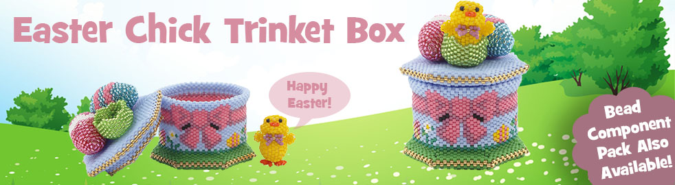 ThreadABead 3D Easter Chicken and Egg Trinket Box Bead Component Pack