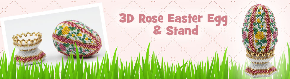 ThreadABead 3D Rose Easter Egg and Stand Bead Component Pack