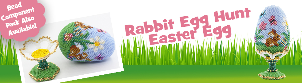 ThreadABead 3D Rabbit Easter Egg Hunt Egg and Daisy Stand Bead Pattern