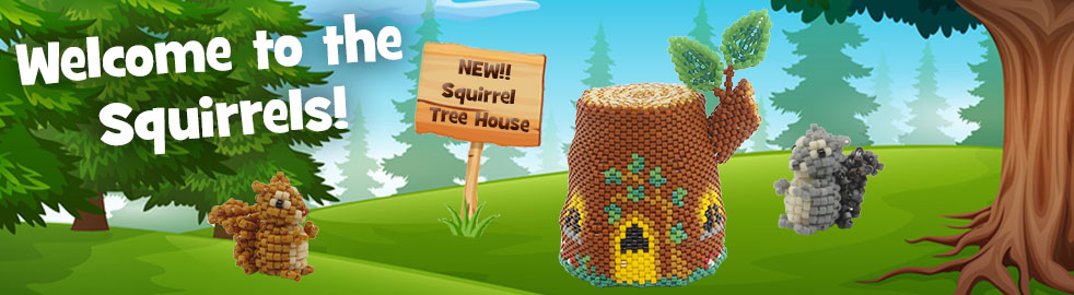 ThreadABead Squirrel Tree House and Squirrels Component Pack