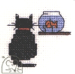 Mouseloft Stitchlets Cat and Goldfish Cross Stitch Kit
