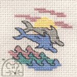 Mouseloft Stitchlets Two Dolphins Cross Stitch Kit