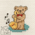 Mouseloft Stitchlets Saxophone Teddy Cross Stitch Kit
