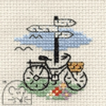 Mouseloft Stitchlets Bicycle and Signpost Cross Stitch Kit