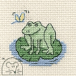 Mouseloft Stitchlets Frog on Lily Pad Cross Stitch Kit