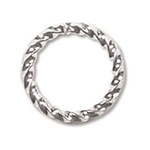 10mm Fancy Twisted Open Jump Ring Silver Plate (x12)