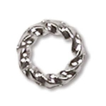 6mm Fancy Twisted Open Jump Ring Silver Plate (x12)