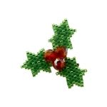 Small Beaded Holly Brooch