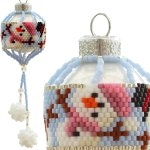 Dancing Snowmen Christmas Bauble Ornament with Snowball Pompoms