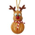Winston the Reindeer Beaded Bauble Ornament