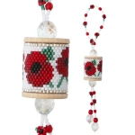 Poppy Wood Spool Ornament